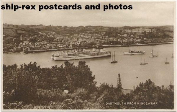 Dartmouth (Devon) troopships, steam yacht, postcard